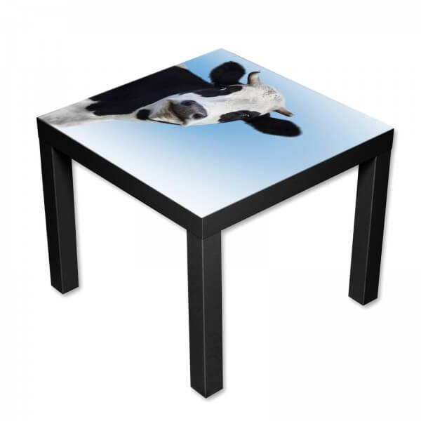 Beistelltisch Couchtisch mit Motiv Tiere Kuh schwarz weiß