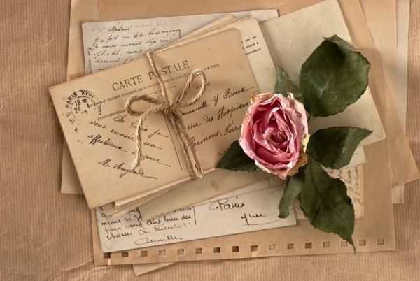 Magnettafel Pinnwand XXL Bild Love Brief Rose Romantik