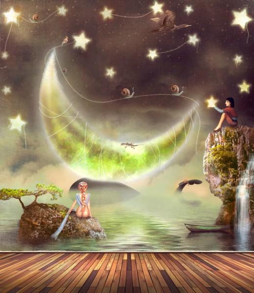 Vlies Tapete Poster Fototapete Fantasy Mond Sterne See