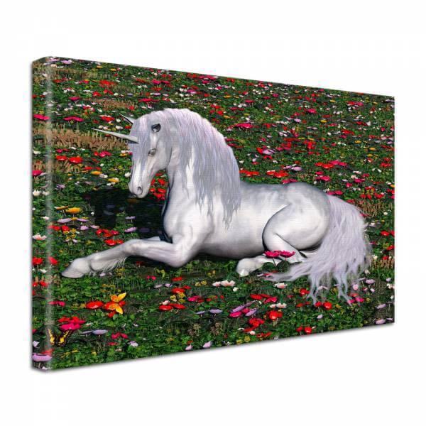 Leinwand Bild edel Fantasy Einhorn in weiß auf der Blumenwiese