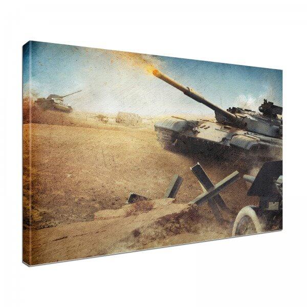 Leinwand Bild edel Panzer Kampf Krieg