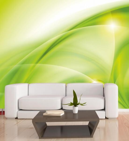 Vlies XXL-Poster Fototapete Tapete Muster Wellen in grün