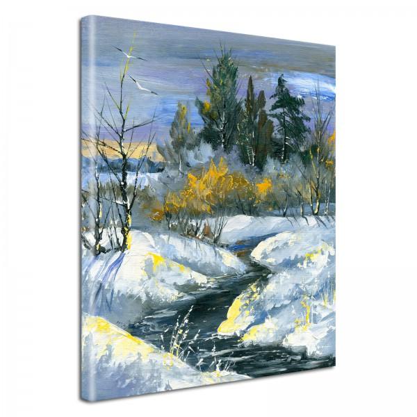 Leinwandbild Gemälde Winterlandschaft