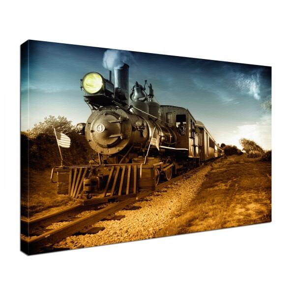 Leinwand Bild edel Lokomotive Eisenbahn Dampflok Retro