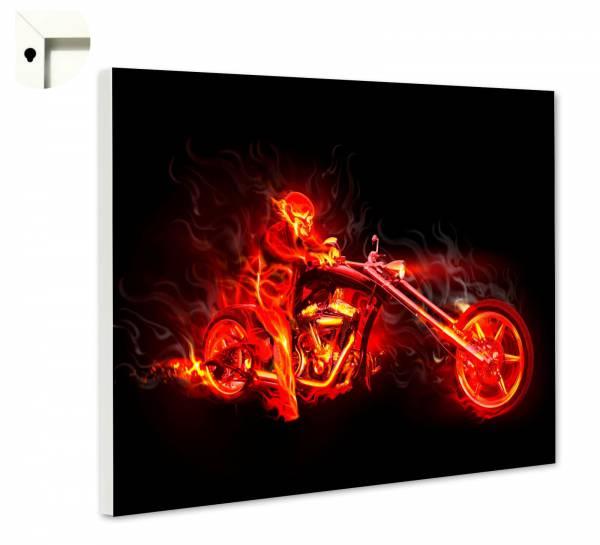 Magnettafel Pinnwand Red Devil Bike Flammen