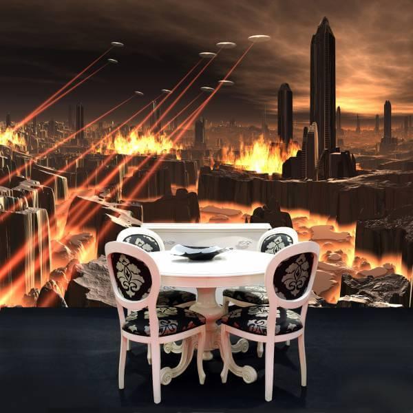 Poster Fototapete Fantasy Ufoangriff