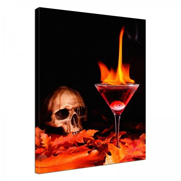 Leinwand Bild edel Fantasy Gothic Totenkopf Cocktail