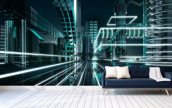 Vlies Tapete Poster Fototapete 3D abstrakt futuristisch Megalopolis
