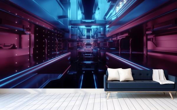Vlies Tapete Poster XXL Fototapete 3D Effekt Abstrakt Neon futuristisch
