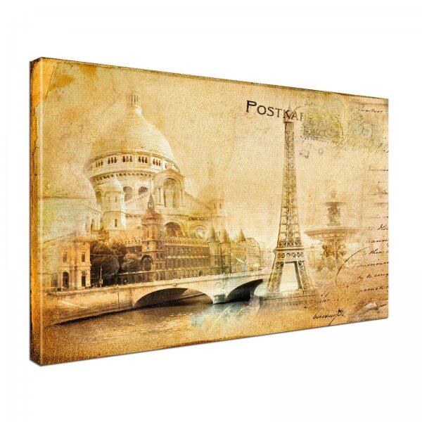 Leinwand Bild edel Postkarte Paris Vintage