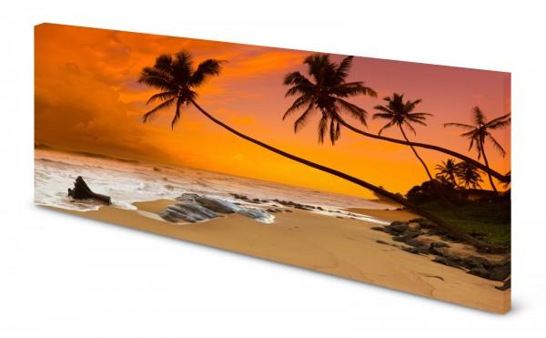 Magnettafel Pinnwand Palmen Strand Meer Sonnenuntergang gekantet