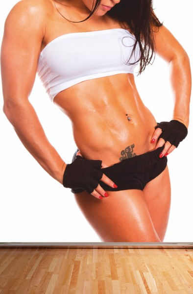 Vlies Tapete XXL Poster Fototapete Fitness Frau Sixpack Shape
