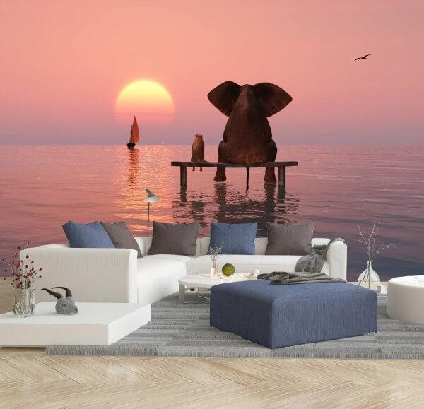 Vlies Tapete Fototapete Elefant Hund Freundschaft Horizont