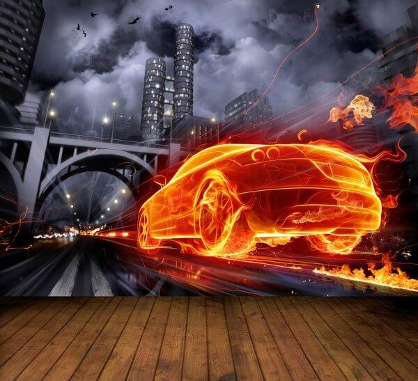 Vlies XXL Poster Fototapete Tapete Flammen Auto Rennen
