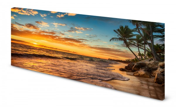 Magnettafel Pinnwand Bild Natur Sonnenuntergang Palmen Strand gekantet