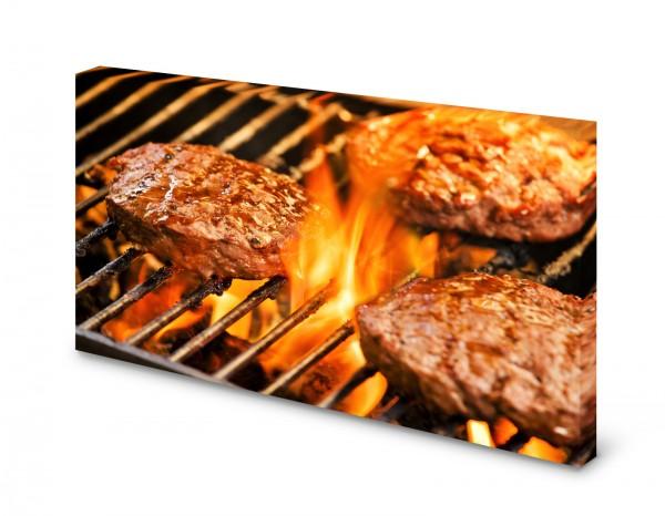 Magnettafel Pinnwand Bild Grillen Beef Burger XXL gekantet