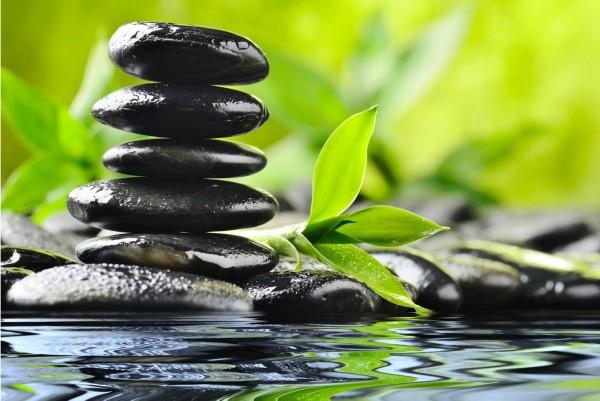 Magnettafel Pinnwand XXL Bild Bambus Steinbalance Fluss