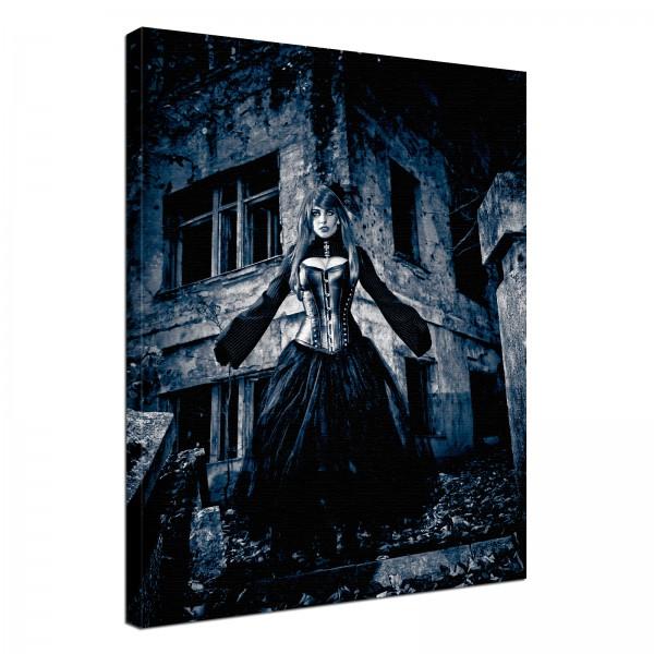 Leinwand Bild edel Gothic Lady Black