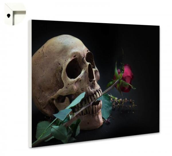 Magnettafel Pinnwand Totenkopf Rose