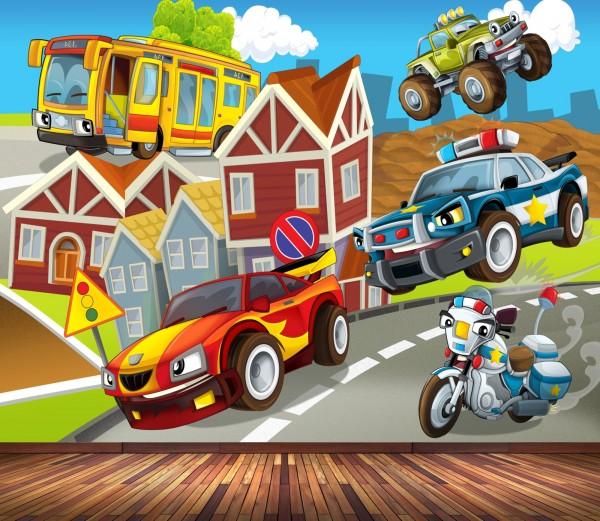 Vlies Tapete Poster Fototapete Kinderzimmer Rennauto Monstertruck