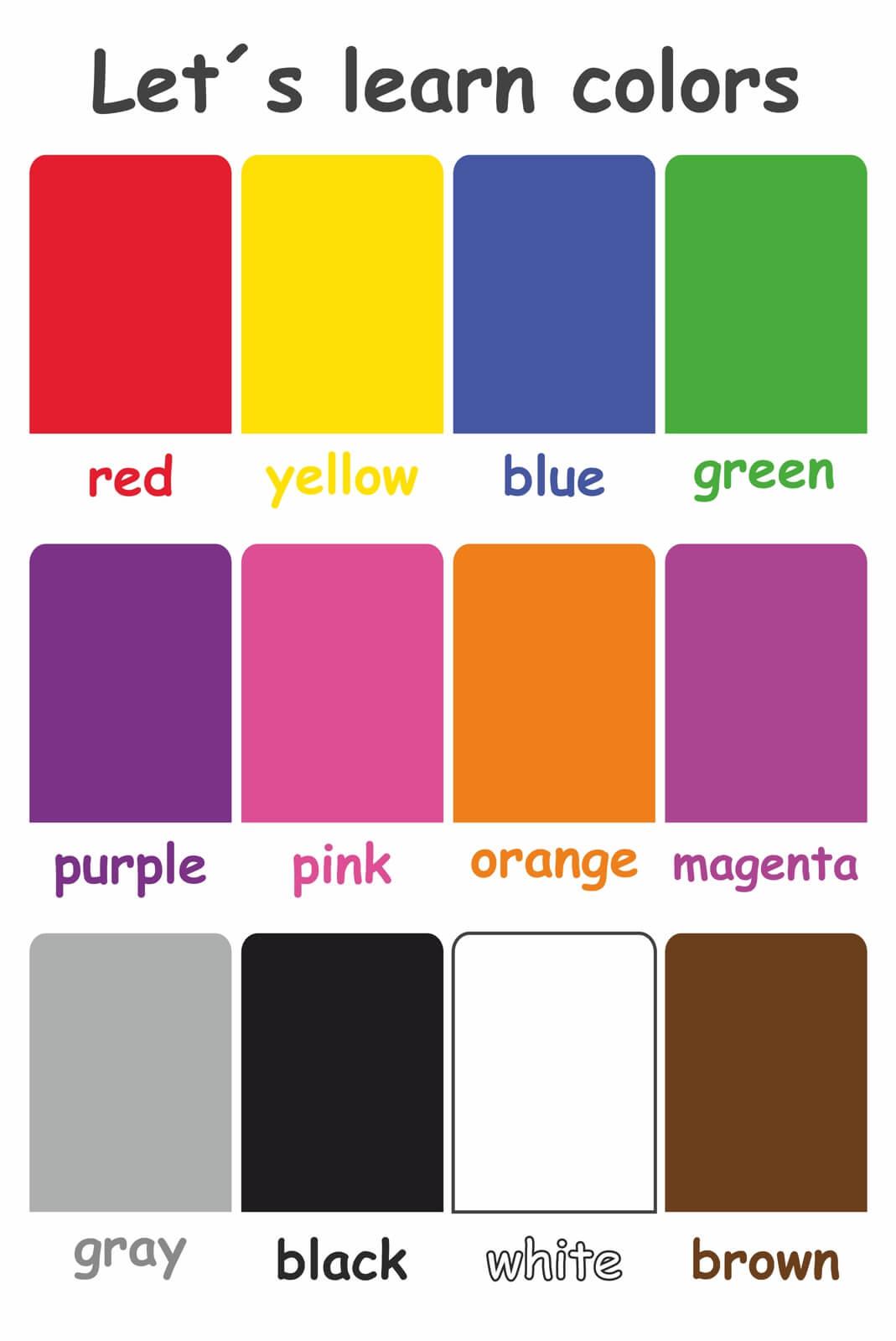 Farben Für Kinder.Magnettafel Pinnwand Mit Motiv Kinder Schule Farben Englisch