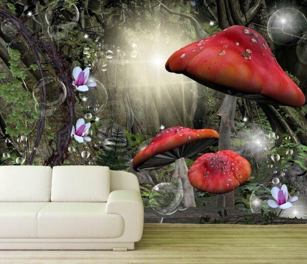Vlies Tapete Poster Fototapete Fantasy Fliegenpilz Märchenwald Zauber