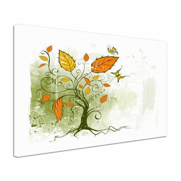 Leinwandbild Bild Wandbild Natur & Blumen Zeichnung Baum