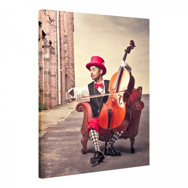 Leinwand Bild edel Cello Clown