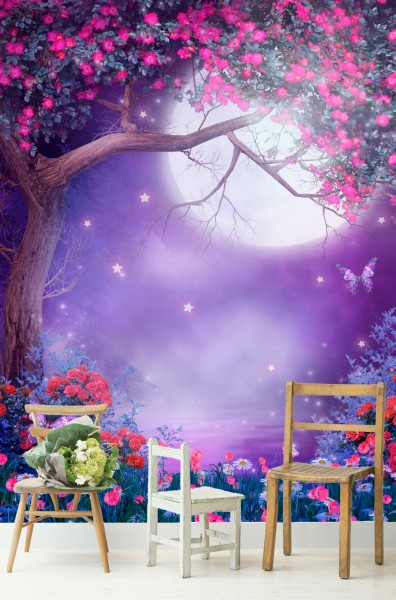 Vlies Tapete Poster Fototapete Fantasy Nacht lila