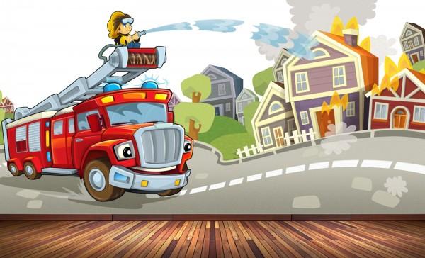 Vlies Tapete Poster Fototapete Kinderzimmer Feuerwehr