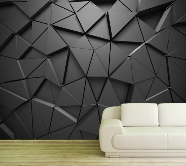 Vlies Tapete Poster XXL Fototapete 3D Effekt anthrazit Dreieck Prisma