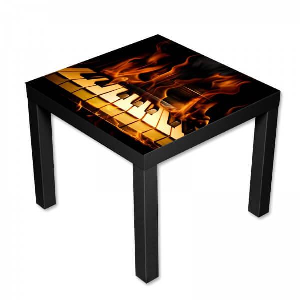 Beistelltisch Couchtisch mit Motiv Klavier in Flammen