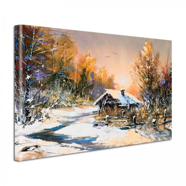 Leinwandbild Gemälde Hütte im Winter