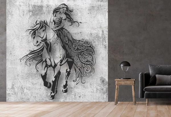 Vlies Tapete Betonoptik Poster Fototapete Tribal Pferd Lady Frau