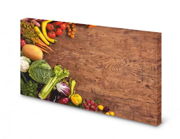 Magnettafel Pinnwand Bild Veggie Vegan Love Holzoptik gekantet XXL