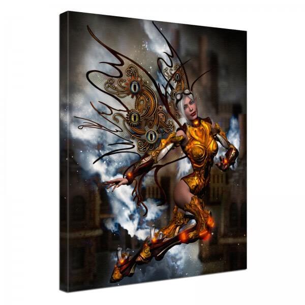 Leinwand Bild edel Fantasy Steampunk Amazone