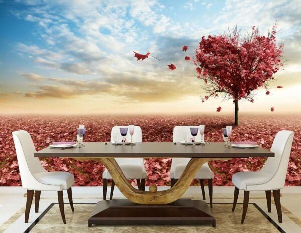 Vlies XXL-Poster Tapete Fototapete Natur Herzbaum mit rotem Laub