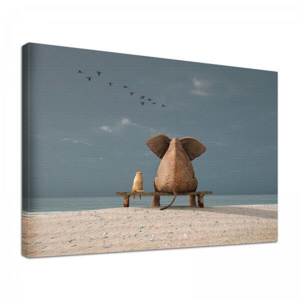 Leinwand Bild edel Tiere Elefant & Hund Freundschaft am Meer