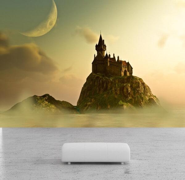 Vlies Tapete Poster Fototapete Fantasy Landschaft Schloss Berg