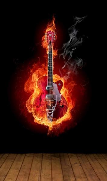 Vlies XXL Poster Fototapete Tapete Flammen Gitarre schwarz
