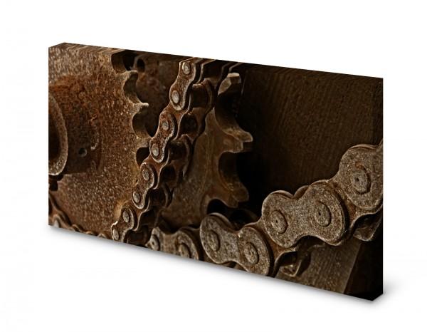 Magnettafel Pinnwand Bild Metall Zahnrad Kette Rost XXL gekantet
