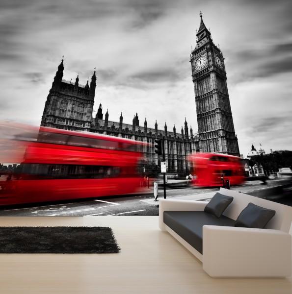 Vlies Tapete XXL Poster Fototapete England London Big Ben Bus