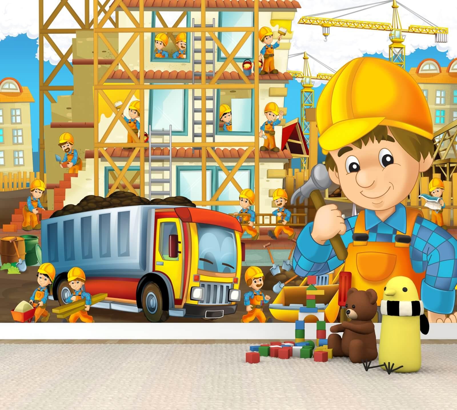 Vlies XXL-Poster Fototapete Tapete Kinder Bauarbeiter