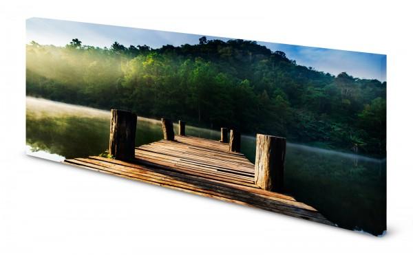 Magnettafel Pinnwand Bild Natur See Steg Wald gekantet