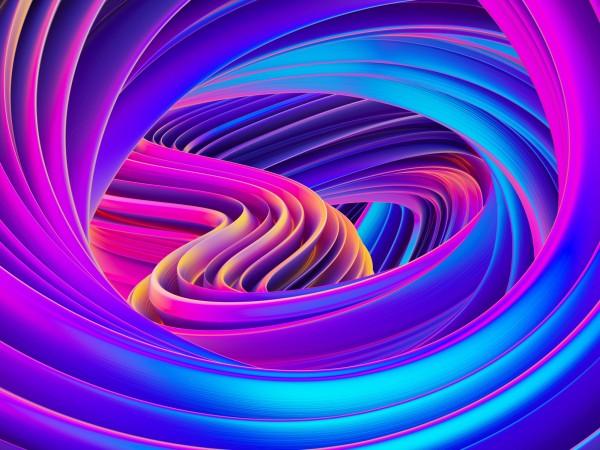 Vlies Tapete Fototapete 3D Effekt Muster lila türkis blau Wirbel