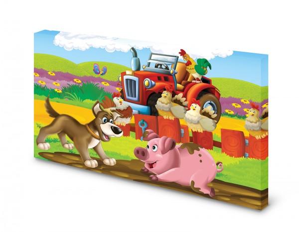 Magnettafel Pinnwand Bild Roter Traktor Bauernhof Kinder gekantet
