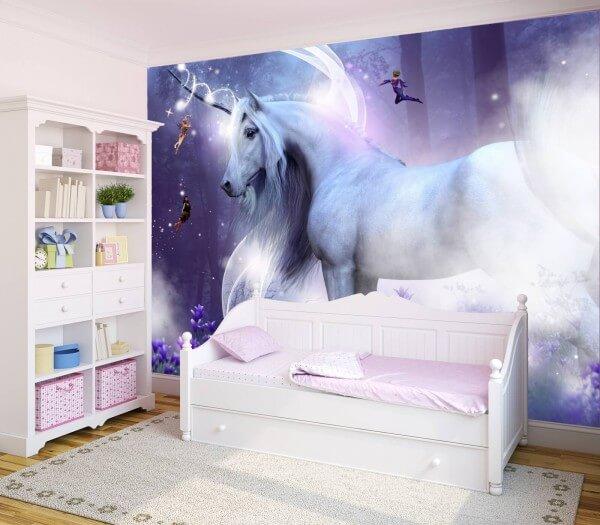 Kinderzimmer Tapete Vlies XXL-Poster Fototapete Einhorn Elfen lila Fantasy