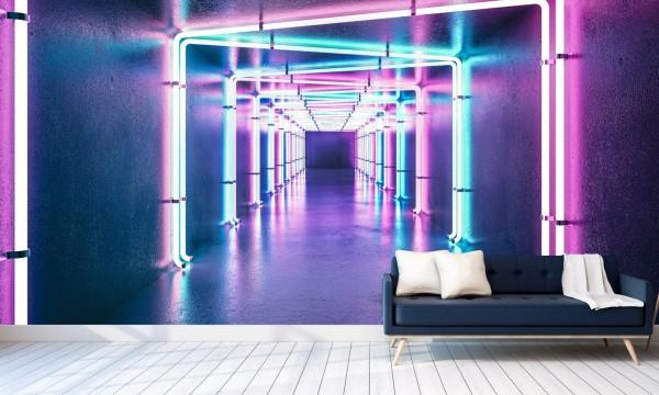 Vlies Tapete Poster XXL Fototapete 3D Effekt Neon Licht Tunnel