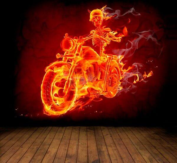 Vlies XXL Poster Fototapete Tapete Flammen Skelett Motorrad