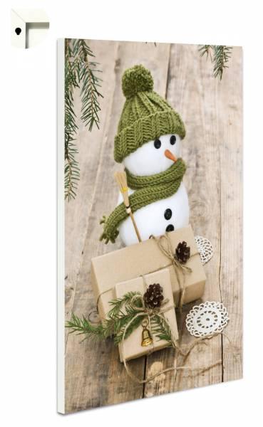 Magnettafel Pinnwand Schneemann auf Holz